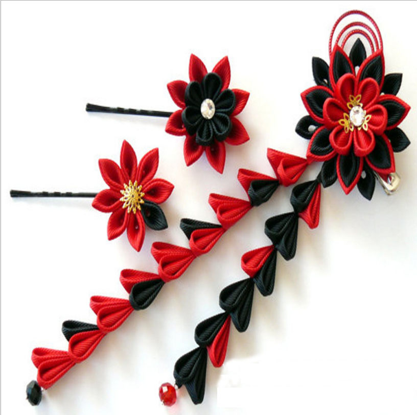 Red And Black Kanzashi Fabric Flower Hair Clips For