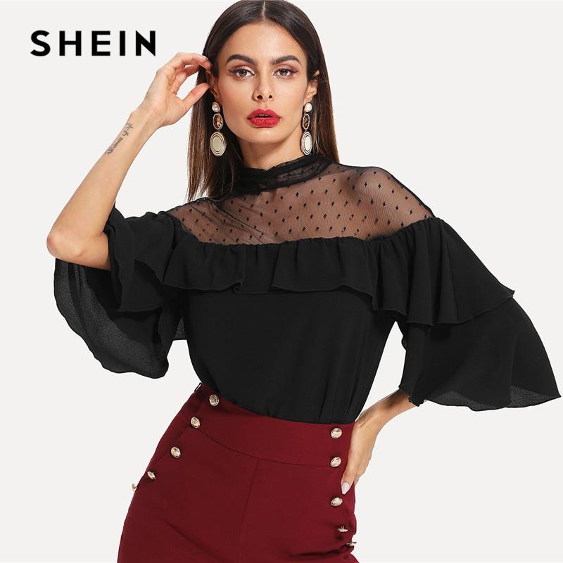 SHEIN Black Elegant Stand Collar Dot Mesh Insert Keyhole Back Flounce Sleeve Blouse Spring Fall Women Workwear Casual Shirt Top