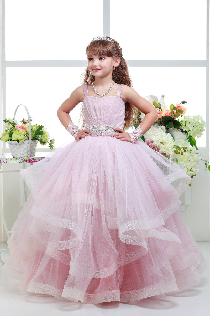 Holy Flower Girl Dresses Pink Color Ball Gown With Straps Ruffles