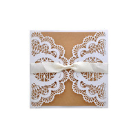 10 unids flor hueco corte láser invitaciones de boda tarjeta personalizada con la cinta sobres y Sellantes fuentes del partido
