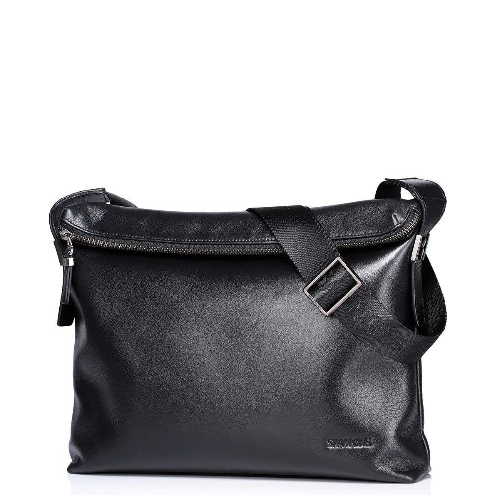 2016 New Fashion font b Men s b font Genuine Full Grain Leather Foldable Flap Shoulder