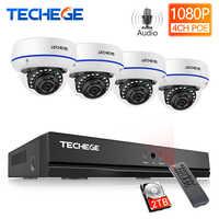 Techege H.265 4CH 1080P POE NVR Audio CCTV Security System 2/4PCS 2MP POE IP Kamera Im Freien wasserdichte Video Überwachung Kit
