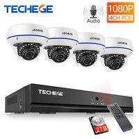 Techege H.265 4CH 1080 1080P POE NVR オーディオ CCTV セキュリティシステム 2/4 個 2MP POE IP カメラ屋外防水ビデオ監視キット