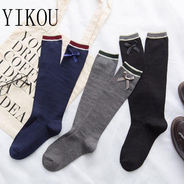 YIKOU женский лук гетры Для женщин Мода бар ноги носки Корея Колледж ветра хлопковые носки для девочек Дикий сладкий чулки