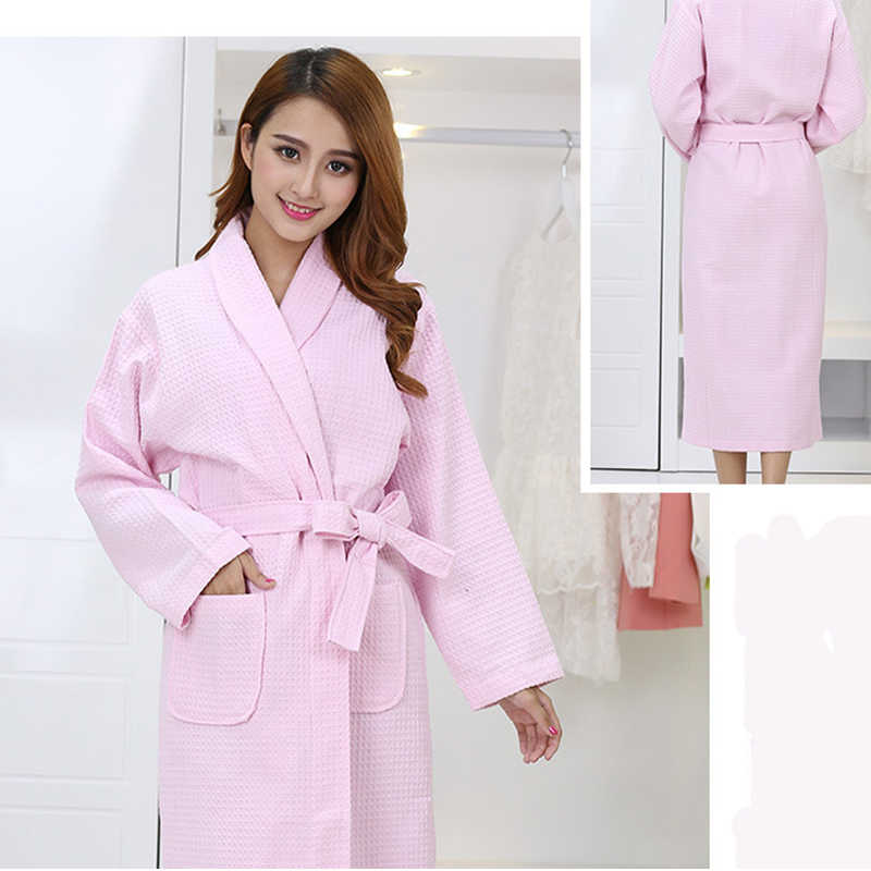 5865599a3c ... 100% Cotton Blue Couple Bathrobe Long Sleeve Thick Quick Dry Adult  Towels Bathrobe Home Hotel