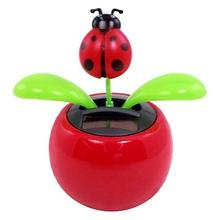 Solar Powered Dancing Lady Bug Flower Car Dashboard Ornaments Swinging Toy Car Accessories Auto Interior Decoration Gifts solar powered swing dancing flower bee toy home car ornament decoration gifts