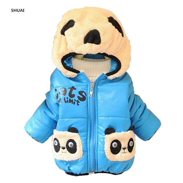 CNJiaYun Baby Girls Boys Jacket Winter Warm Thick Cotton Cartoon Panda hooded Kids Coat Children Lovely Outerwear kids Clothing цена