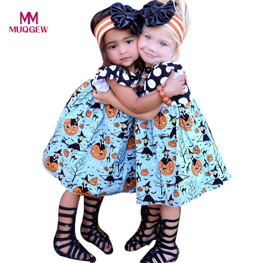 Toddler Baby Girls Princess Dress Short Sleeve Pumpkin O Neck Summer Costumes Kids Party Pageant Girls Holiday Halloween Dresses