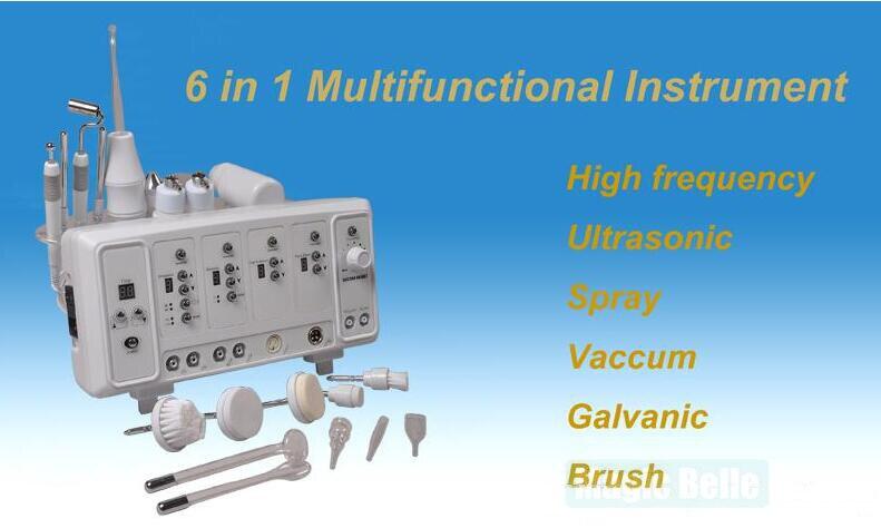Nouveau comming! haute Fréquence/Ultrasons/Pulvérisation/Vide/Galvanique/Brosse 6 en 1 Portable multifonction visage machine