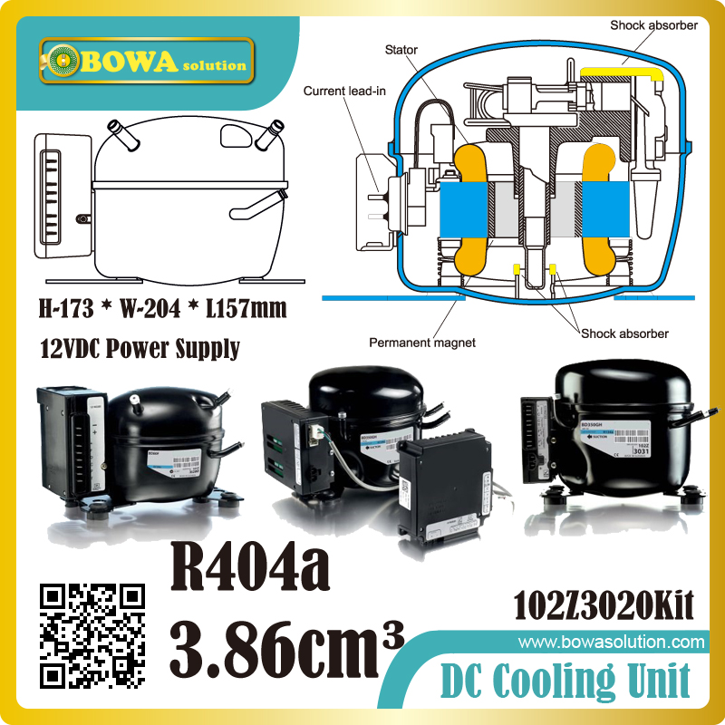 R404a DC refrigeration compressor must be mounted in a dry and clean place and be especially quiet in operation appella 4374 1014