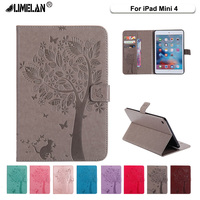 Limalan For Apple IPad Mini4 Case High Quality PU Leather Flip Stand Cat Tree Pattern Cases