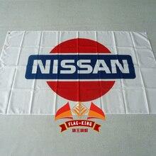 Nissan гоночный автомобиль флаг, с белым фоном, 90*150 СМ полиэстер