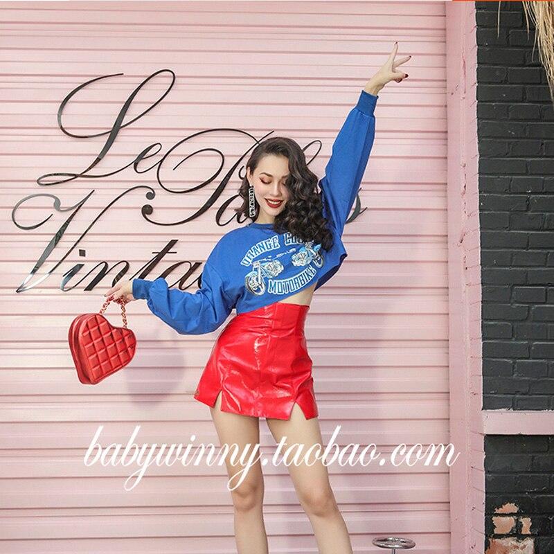 2018 automne américain Vintage court sweat femmes lâche Type conçu imprimé taille unique Top Stretch tissu - 5