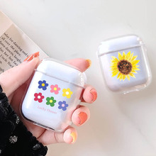 LAUGH LIFE Transparent Flower Luxury Earphone Case For Airpods Cute  Cartoon Apple Cove