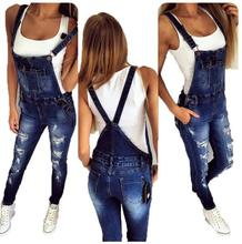 2019 Autumn Ankle-Length Pants Hole Hollow Out Denim Jumpsuit Vintage Strap Stretch Rompers