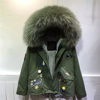 2017 New Women's army green Large raccoon fur hooded coat parkas outwear faux fur lining winter jacket brand style