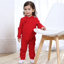 New Spring Chinese Style Cheongsam Knitted Romper 100%Cotton Red Newborn Girl Jumpsuit