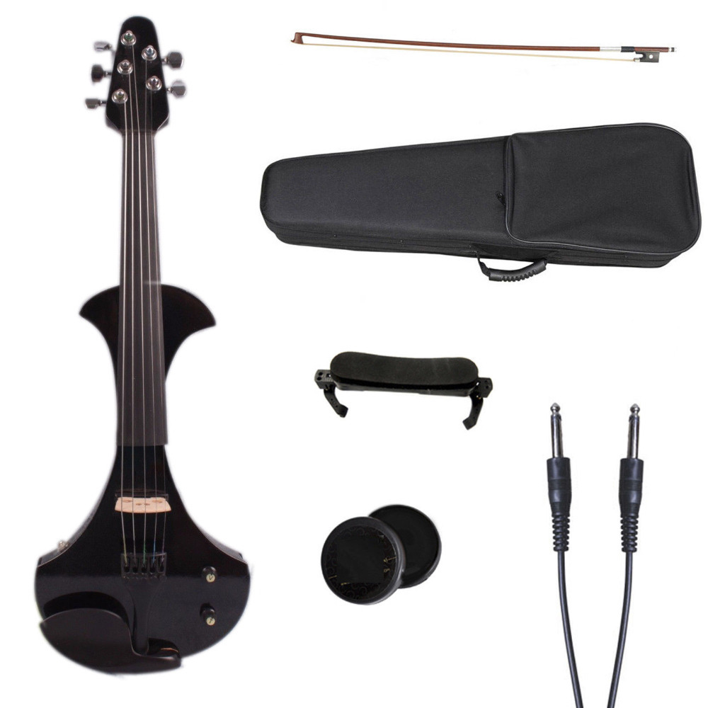 4 string electric violin electric guitar shape Violin Bow Case Big jack Yinfente 6 string electric violin new 4 4 flame guitar shape solid wood powerful sound6 611