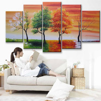 Hand Painted Abstract Trees Landscape Oil Painting on Canvas Modern Decor Wall Art Large 5 Piece Pictures Wall Paintings Sets