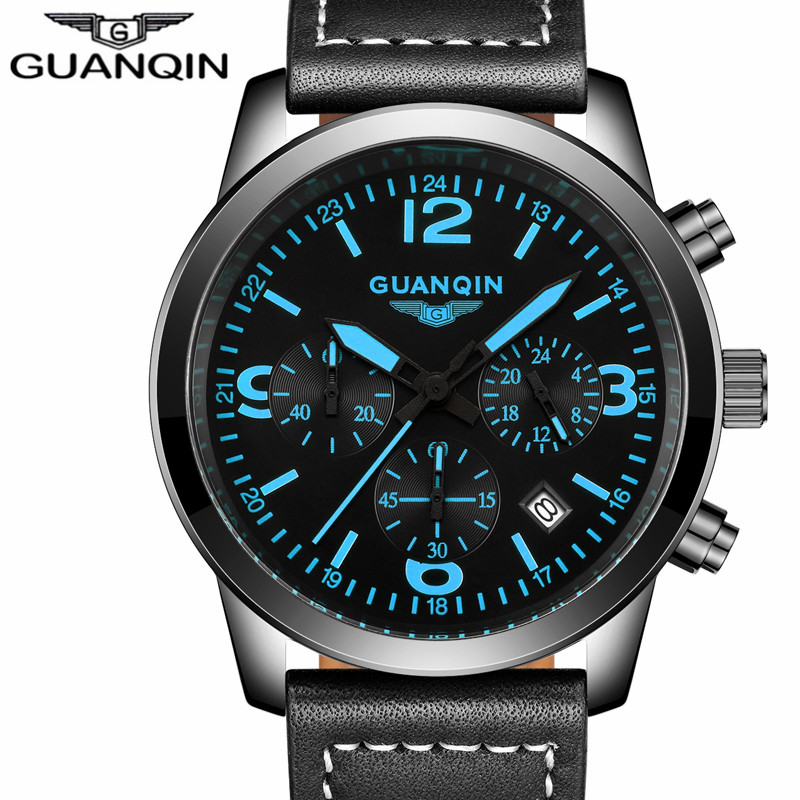 GUANQIN Fashion Luxury Brand Quartz Watch Men Military Sports Watches Chronograph Luminous Date Clock Leather Strap Wristwatch new listing yazole men watch luxury brand watches quartz clock fashion leather belts watch cheap sports wristwatch relogio male