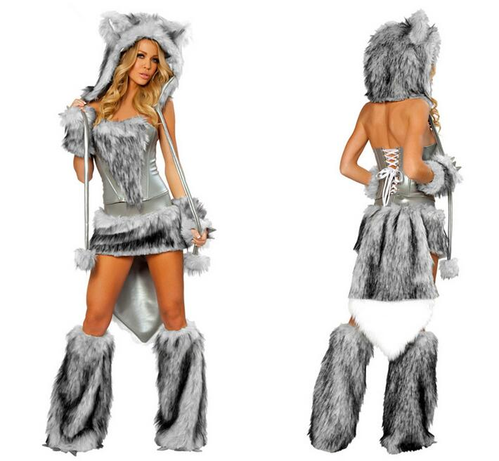 Vocole Halloween Women Sexy Furry Wolf Costume Faux Fur -4810