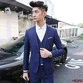 2017 homens cultivar a moralidade terno do lazer Da Moda jovem terno cor pura três-piece