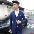 2017 men's cultivate one's morality leisure suit Fashionable young pure color suit A three-piece
