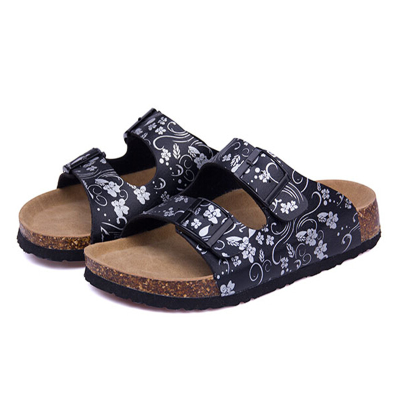 Women Shoes Sandals Slippers Summer Lady Flats Cork Casual Mixed Colors Beach Slides Plus Size 35-41