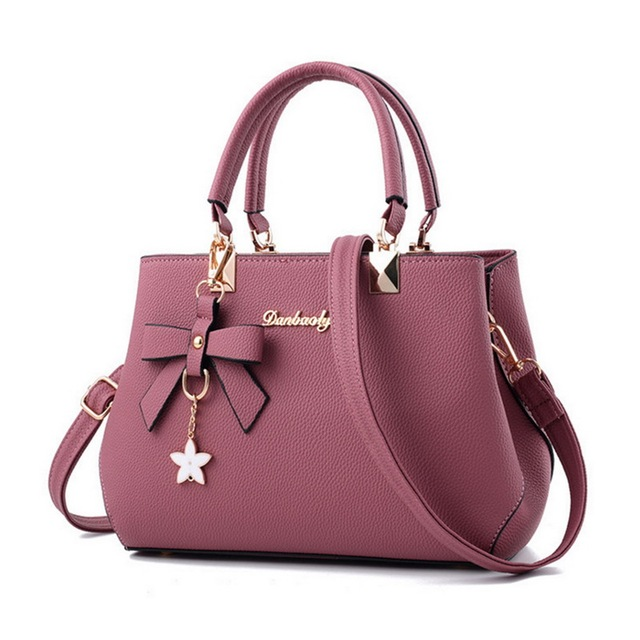 Designer Luxury Shoulder Bag Plum Bow