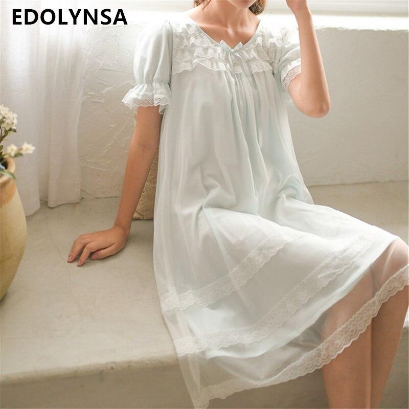 Babydoll Lingerie Tiered Bow Flare Sleeve Fairy Pink Night Dress Green Sleepwear Cotton Nightgown Lace Nightwear Plus Size T124