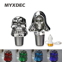 Universal Skull Mirror Gear Shift Knob Colorful Changing Crystal Vehicle Car LED Light Automatic Speed Manual Shifter Stick
