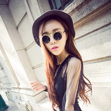 Men Aan Woman  vintage round steampunk sunglasses men small flip up women retro metal silver cheap uv400