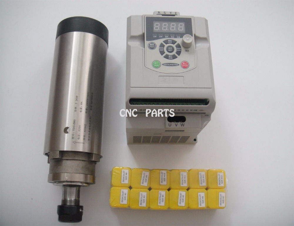 цена  CNC milling spindle  ER20 2.2KW air cooling spindle + 1 pieces 2.2KW VFD inverter+12 pieces ER20 collets  онлайн в 2017 году