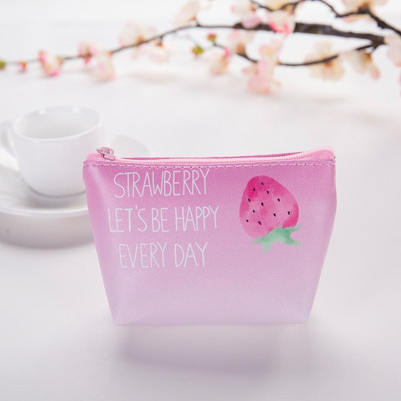 Creative Strawberry Cute Short Coin Purse Zipper Mini Small Wallet Receiving Key Bag