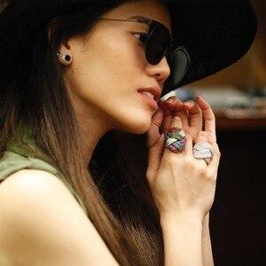 Image 2 - Godki anel de noiva unissex, anel de casamento, unissex, com dedo de noiva, geométrico cúbico, marca famosa de luxo 2018