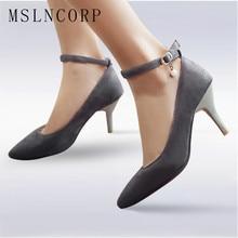купить Plus Size 34-48 Fashion Women Pump Faux Suede Ankle Buckle Slip On High Heels shoes Femme Sexy Pointed Toe Wedding Party Pumps по цене 1649.9 рублей