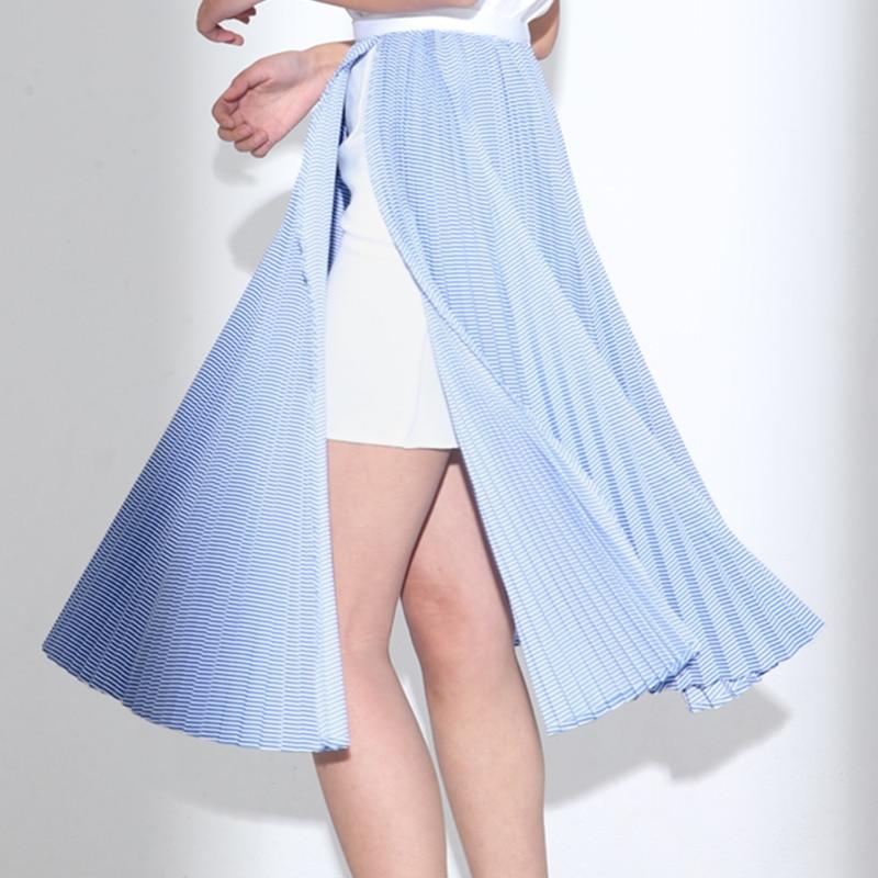 ec6d96746c También sutil algodón un lado split alta cintura rayas imperio rodilla- longitud Falda plisada