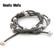 Bracelets Natural Freshwater Pearl Charm Fashion Korean Velvet Wrapped Pearl Multi-layer Bracelet and Necklace(China)