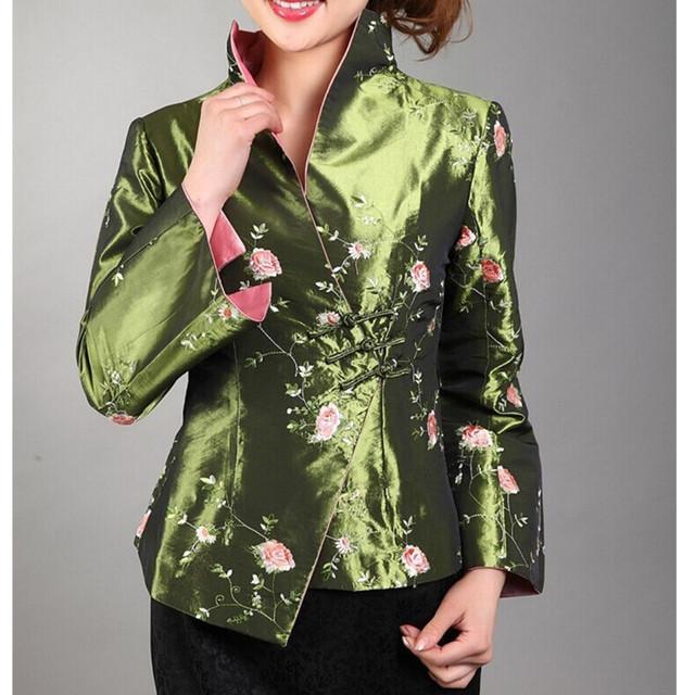 Verde de estilo chino tradicional de las mujeres satén de seda bordado chaqueta escudo chaqueta mujere flores tamaño sml xl xxl xxxl