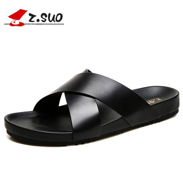 4ef18a9b8ae Z.SUO New Leather Men Slippers Sandals 2018 Fashion Summer Cross Strap  Beach Shoes Flats Slides Flip Flops Male Footwear ZS19603