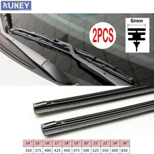 "2Pc No Cutting Car Metal Wiper Blade Refill 6mm 14"" 16"" 22"" 24"" 26"" Windshield Windscreen Wiper Refills Replacement Rubber(China)"