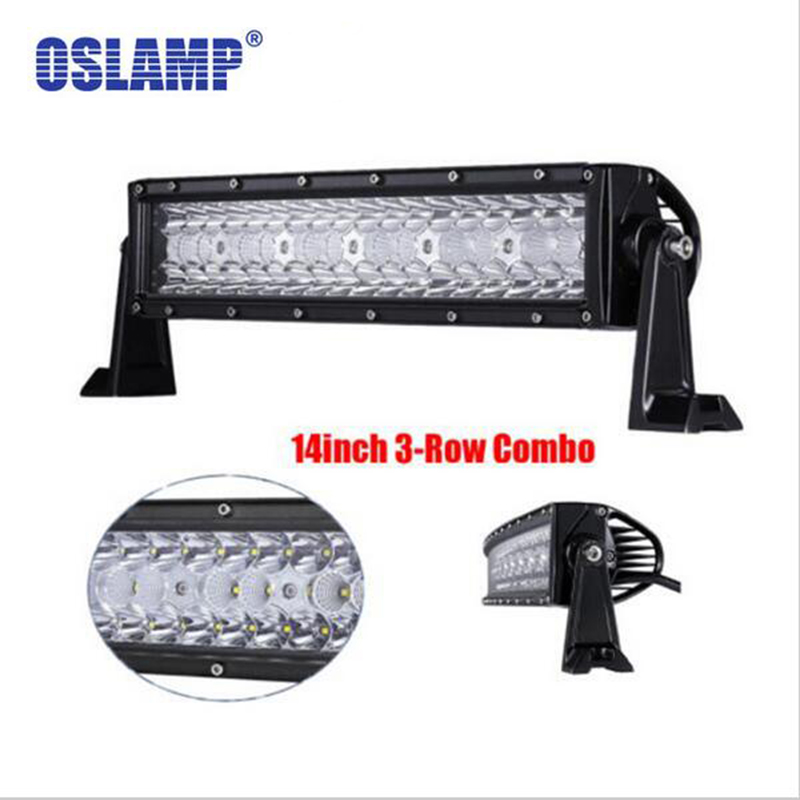 """Oslamp 14 """"LED lehký pracovní panel 3 řady 144W Offroad Driving Combo Beams fit Pickup Tractor Truck SUV 4X4 Wagon jeep"""