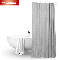 Gray Plaid Polyester Shower Curtain Waterproof Mold Proof Eco Friendly Endless Bath Curtain Hot Bathroom Products