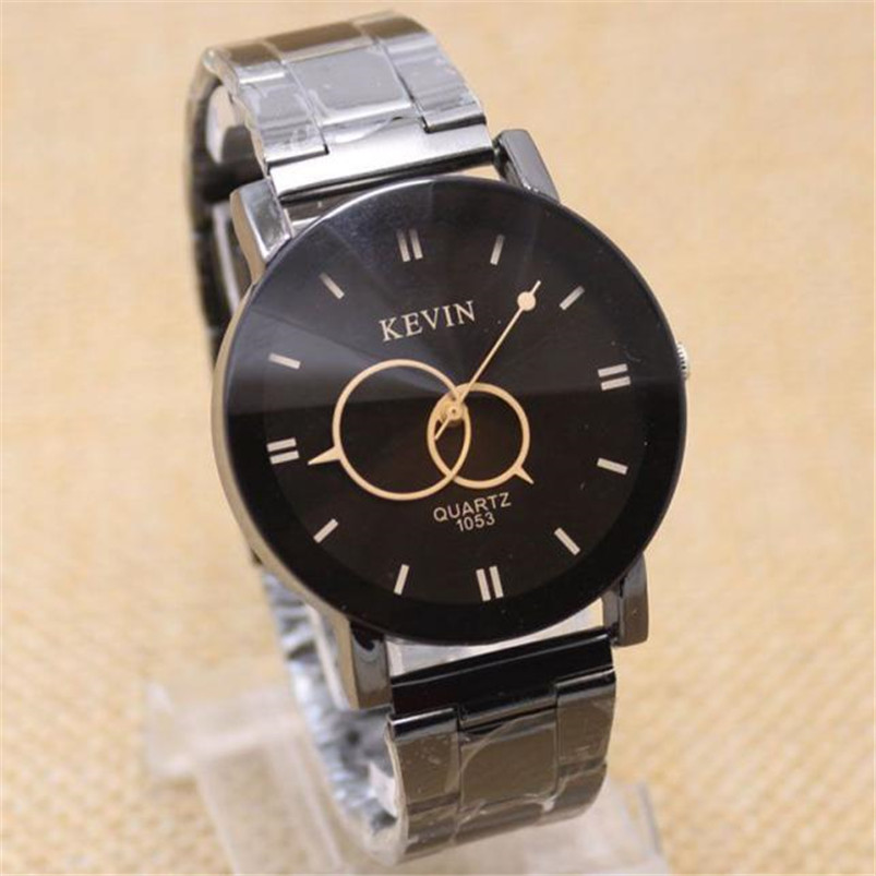 Fashion Design Black Stainless Steel Band Round Dial Quartz Wrist Watch Men Gift#hot sale men free shipping fashion handsome 2