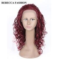 レベッカのremyロングカーリーレースフロント人間の髪の毛のかつら女