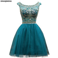 Sparkly Cocktail Dresses Elegant Short Cocktail Dress Crystals Beaded Tulle Ball Gown Formal Party Dress Short Prom Gown