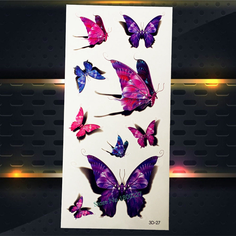 1PC New Disposable Tattoo Butterfly Designs Women Makeup Body Art Arm Shoulder Chest P3D-27 Fake Sexy Butterfly Tattoo Stickers