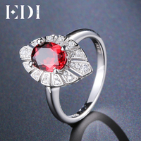 EDI 1.5CT Oval Natural Garnet 925 Sterling Silver Gemstone Ring For Women Fine Jewelry