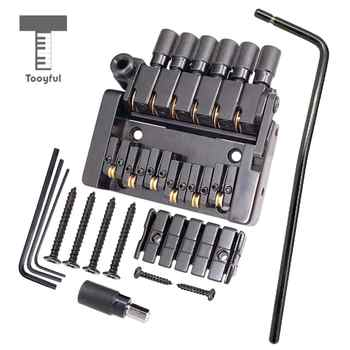 Tooyful Set of 6 String Roller saddle Tremolo Bridge Tailpiece for Headless Electric Guitar Parts