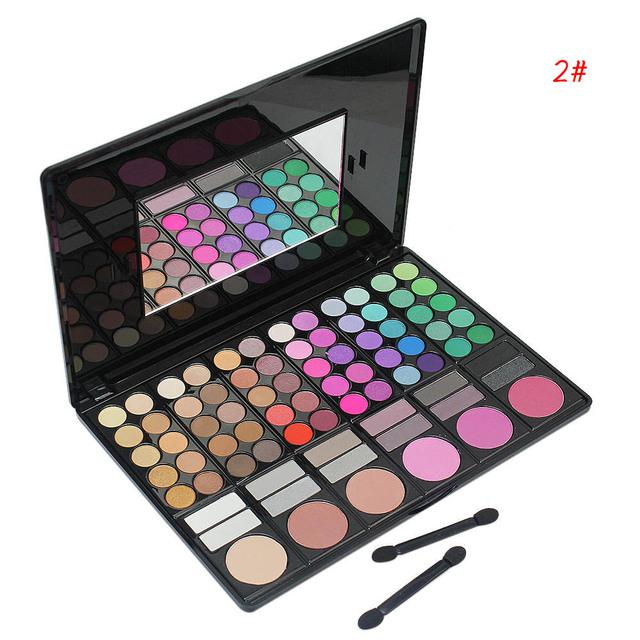 Moda 78 colores de maquillaje paleta de sombra de ojos del blusher lip gloss corrector cosmético kit con mirror + 2 unids palos de sombras de ojos
